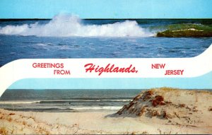 New Jersey Greetings From Highhlands Showing Rough Surf and Sand Dunes