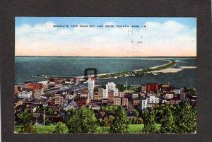 MN Bird's Eye view Skyline Drive Duluth Minnesota Postcard Linen Lake Superior
