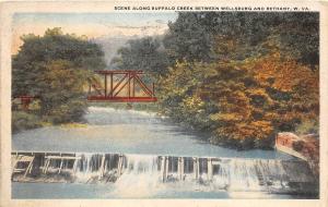 E33/ Wellsburg Bethany West Virginia WV Postcard 1922 Buffalo Creek Bridge