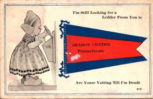 Pennsylvania Sharon Center Dutch Girl Looking For Letter 1918 Pennant Series