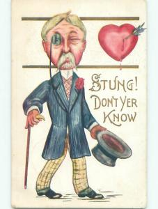 Pre-Linen valentine MAN IN SUIT WITH MONOCLE AND TOPHAT AND WALKING STICK k6050