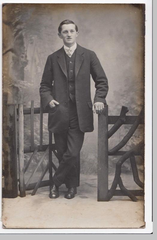 Dapper Edwardian Gentleman By Fence, Studio Portrait RP PPC, Unknown Maker