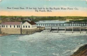 Big Rapids MI~Cement Dam For the Water Power Company~c1910 Postcard
