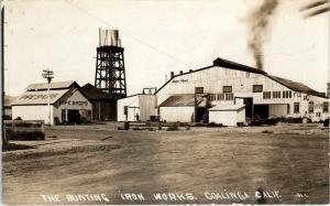 RPPC  COALINGA, CA California BUNTING IRON WORKS  c1910s Besaw? Postcard