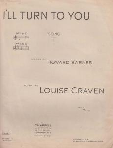 I'll Turn To You Louise Craven 1940s Sheet Music