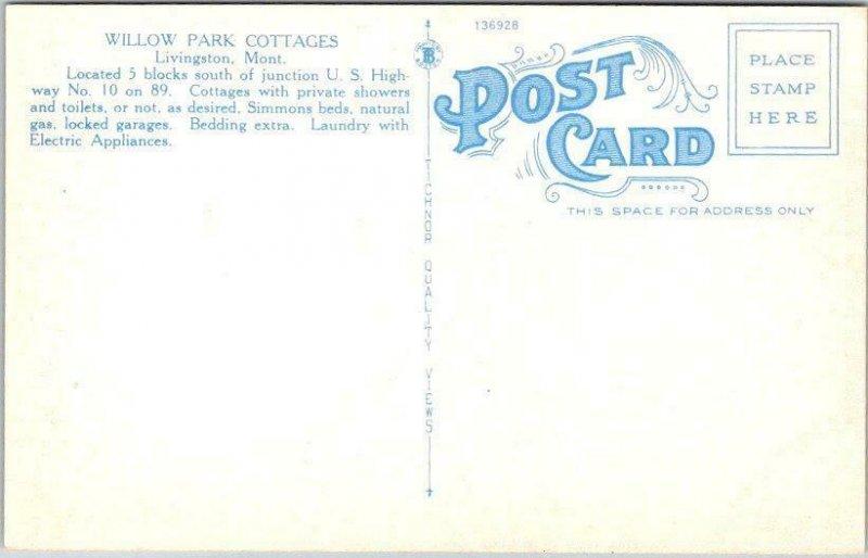 1940s LIVINGSTON, Montana Postcard WILLOW PARK COTTAGES Roadside Linen / Unused