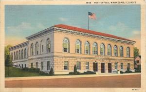 Waukegan Illinois~Post Office~1935 Linen Postcard