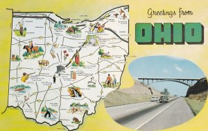 OHIO State Outline, Map, 1950-1960s;