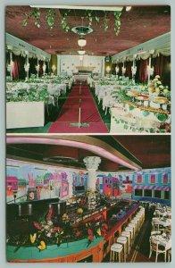 Hallandale Florida~Dewey's Steak & Lobster House~Interior~Murals~Barstools~1950s