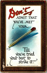Raphael Tuck Knocks Witty & Wise Don't Admit you've met your Match Postcard