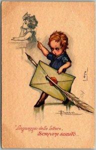 Vintage ITALIAN Italy Artist-Signed Postcard Write me Now! w/ 1926 Cancel