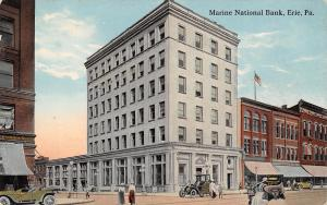 Erie Pennsylvania~Marine National bank~Storefront Awnings~Vintage Cars~1908 PC