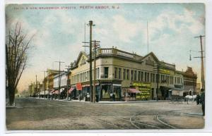 Smith & New Brunswick Streets Perth Amboy New Jersey 1909 postcard