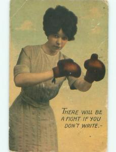 1912 Possible Suffrage Interest WOMAN WITH BOXING GLOVES READY TO FIGHT AB7440