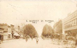F54/ Nappanee Indiana RPPC Postcard c1910 E Market St Stores Busy