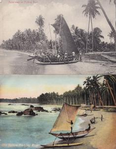 Katamaran Ceylon Fishing Boat 2x Old Postcard s