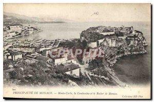 Old Postcard Principality of Monaco Monte Carlo Condamine and the Rock of Monaco
