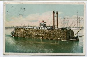 Mississippi River Paddle Steamer Boat Loaded With Cotton 1911 postcard
