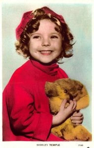 Shirley Temple Teddy Bear Colorized real photo postcard 7180.