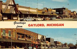 Gaylord Michigan Street Scene Multiview Vintage Postcard K99889