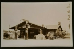 Mint Michigan Myer Log Cabin Gas Station St Helen Michigan Real Picture Postcard