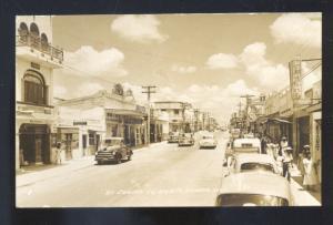 RPPC CIUDAD MARTE TAMPS. MEXICO 1950's CARS STREET SCENE REAL PHOTO POSTCARD