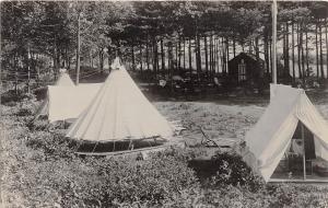 Illinois Il Real Photo RPPC Postcard 1951 MOLINE Camping Scene Tents