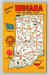 IN- Indiana, The Hoosier State, State Map Roadways, Chrome Postcard