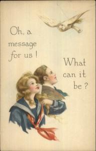 Bird Brings Message to Children Missed You School Last Week c1920 Postcard
