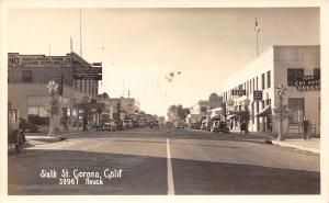 Corona CA~Sixth Street~Graham Bros~Sheet Metal Works~Cafe~Ice Cream~1940s RPPC