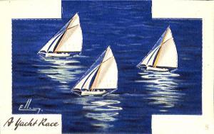Raphael Tuck Platform Cutout Ellam Sail Boats Postcard