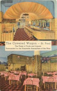 St Paul MN~The Covered Wagon Rustic Dining Room~1940s Postcard