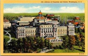 Vtg Library of Congress and Annex Birds Eye View Washington DC Linen Postcard