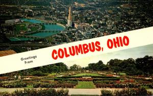 Ohio Columbus Greetings Showing Aerial View and Park Of Roses