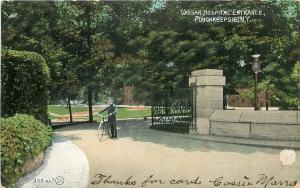 Poughkeepsie New York~Vassar Hospital Entrance~Delivery Man with Bicycle~1907