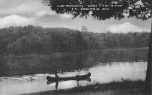 Middleville Michigan Camp Michawana Waterfront Antique Postcard K54627