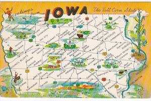 Greetings From Iowa With Map 1959