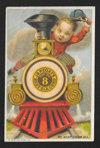 VICTORIAN TRADE CARD Coats' Thread Guide Boy on Train