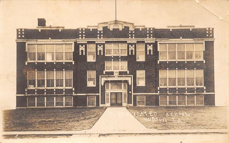 Hudson Iowa~Consolidated Public School~1915 Real Photo Postcard~RPPC