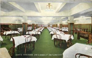 Salt Lake City Utah~Shay's Cafeteria Interior~Main Street~1913 Postcard