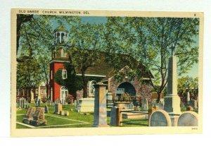 Wilmington Delaware Old Swede Church Graveyard Linen Vintage Postcard