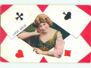 Pre-Linen Risque aces high SEXY GIRL WITH POKER PLAYING CARDS AB8252
