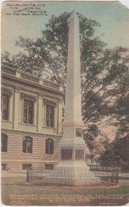CHARLOTTE NC - MONUMENT to AMERICAN REVOLUTION - 1909 / Mecklenburg Revolution