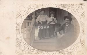 C50/ Watertown Wisconsin Wi RPPC Real Photo Postcard 1910 Family Home Porch