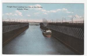 Steamer Iron Ore Docks Duluth Minnesota 1914 postcard