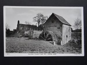 Shropshire CRAVEN ARMS Halford Church & Mill c1938 RP Postcard Raphael Tuck CA9