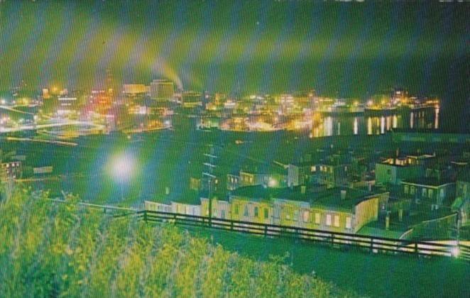 Canada Night VIew Of Harbour and City Of St John New Brunswick