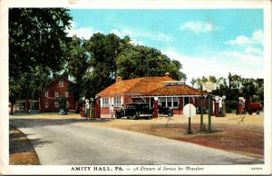 RPPC GAS STATION in AMITY HALL PA PERRY COUNTY - VINTAGE - UNPOSTED - POSTCARD