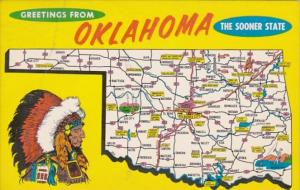 Greetings From Oklahoma With Map 1973