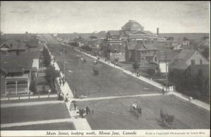 Moose Jwa Saskatachewan Main St. North c1910 Postcard bck